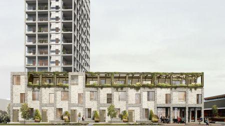 Nyopførte byhuse skyder op i Aarhus kreative knudepunkt